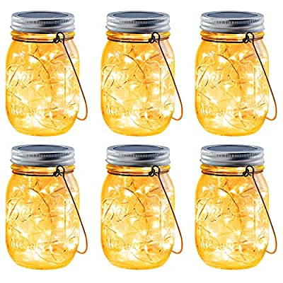Brizled Solar Mason Jar Lights, 6 Pack 30 LED Solar Fairy String Lights with Hangers, Outdoor Solar Lantern Table Light Waterproof Firefly Jar Lid Light for Christmas Patio Garden Yard Deck Floor Lawn