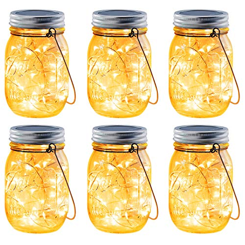Brizled Solar Mason Jar Lights, 6 Pack 30 LED Solar Fairy String Lights with Hangers, Outdoor Solar Lantern Table Light Waterproof Firefly Jar Lid Light for Christmas Patio Garden Yard Deck Floor Lawn