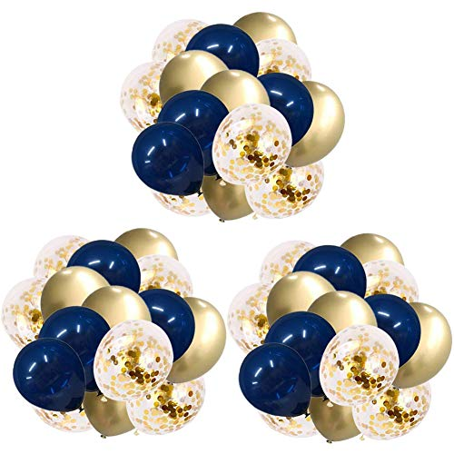 60pcs 12in Navy Blue&Gold Confetti&Gold Metallic Chrome Balloons for Baby Shower,Birthday Party,Wedding Party Children's Party Decorations