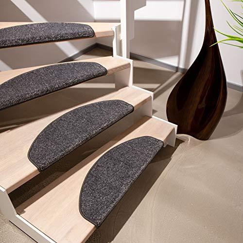 Floordirekt Velours-Stufenmatten Lyon, meliert | Halbrund oder Eckig | Treppenmatten in 4 Farben | Strapazierfähig & pflegeleicht | Stufenteppich für Innen (Schwarz, Halbrund 65 x 23,5 cm)