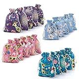 XiYee 20 Piezas Bolsa de Cordón de Algodón y Lino Para Guardar Regalos Bolsa de lino de algodón Impresión Floral Bolsas de Arpillera 10×14 CM