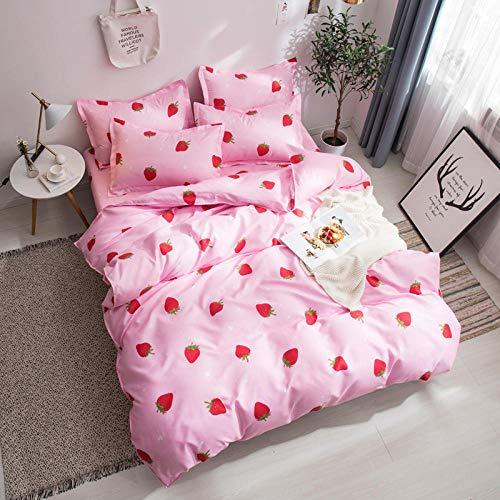 EADLDDBM Cartoon Obst Erdbeere Bettbezug-Set Für 140X200 cm, Hochwertige Baumwolle, Blätter, Mit Reißverschluss, Ultraweich, Atmungsaktiv, 3-Teiliges Bettwäsche-Set Für Kinder, Jungen, Anti-Allergi