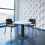Optima runder Besprechungstisch Ø 80 cm Weiß Anthrazites Gestell Tisch Esstisch