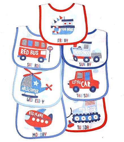 7 Jours ot le semaine Bébé bavoirs avec Fermeture Velcro Plastic Backed 3 Modèles 0-6 - Jours de la semaine Garçons, 0 - 6 Mois