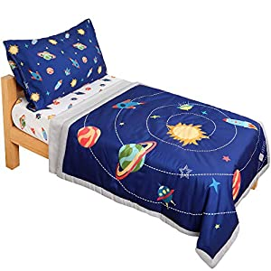 crib bedding and baby bedding tillyou 5 pieces space theme toddler bedding set (embroidered quilt, fitted sheet, flat sheet, pillowcases) - microfiber printed nursery bedding for boys girls, navy blue