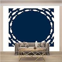 QHZSFF 3D壁画壁紙 魚の学校 リビングルーム寝室の壁の装飾家の装飾壁画の写真壁紙用壁 200 x 175cm