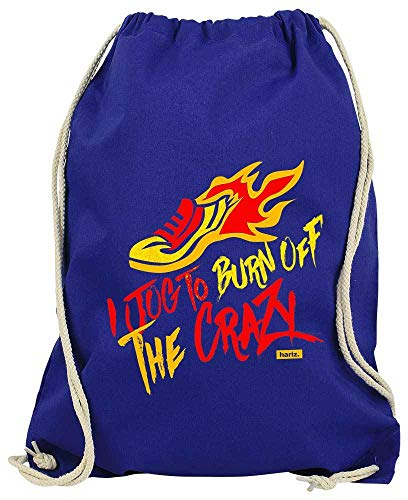 "HARIZ Bolsa de deporte con texto ""I Jog to Burn Off The Crazy Jogging Running (incluye tarjeta de regalo), azul real (Azul) - Laufen44-WM110-10-1"