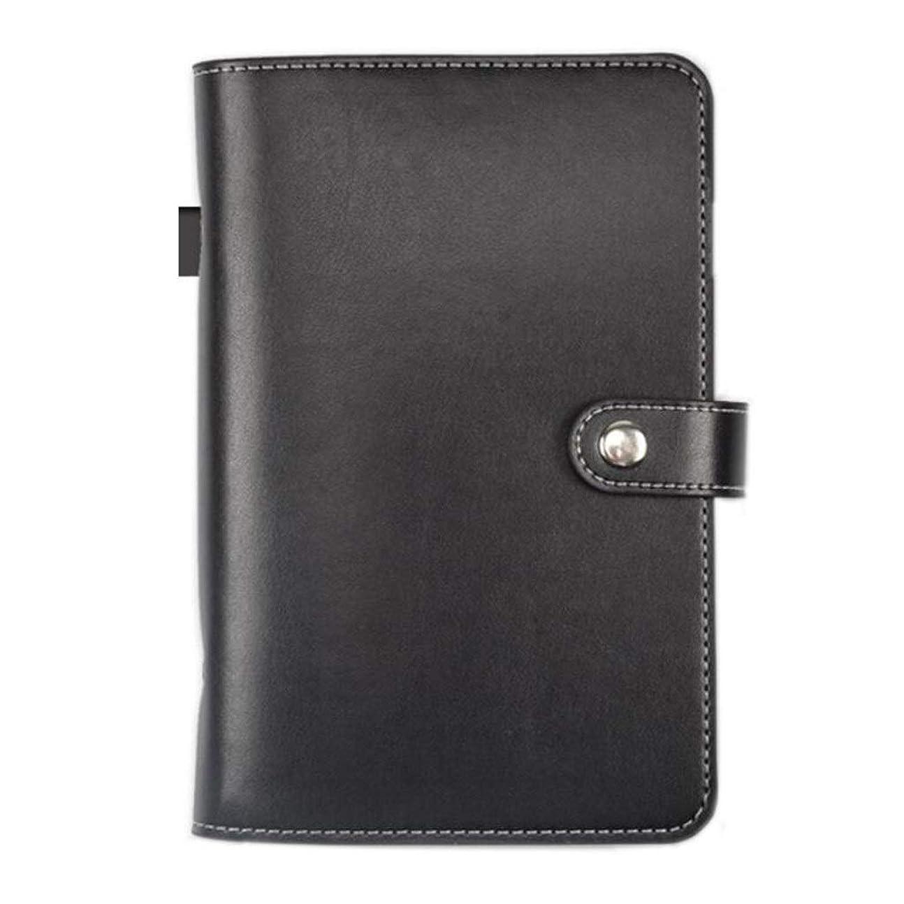 ハンドブック - ノートブックA6、ルーズリーフオフィススモールノートブックレトロクリエイティブハンドアカウント日記、2個 (Color : Black)
