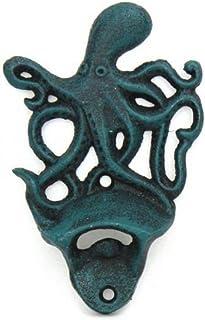 "Hampton Nautical K-9116-seaworn Seaworn Blue Cast Iron Wall Mounted Octopus Bottle Opener 6"" - Vintage Cast Iron Decor - S..."