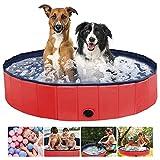 Aceshop Piscina Plegable para Perros Bañera Plegable de Mascotas Baño Portátil para Animales Piscina para Perros y Gatos Adecuado PVC Bañera para Perros para Interior Exterior al Aire, 160 × 30cm