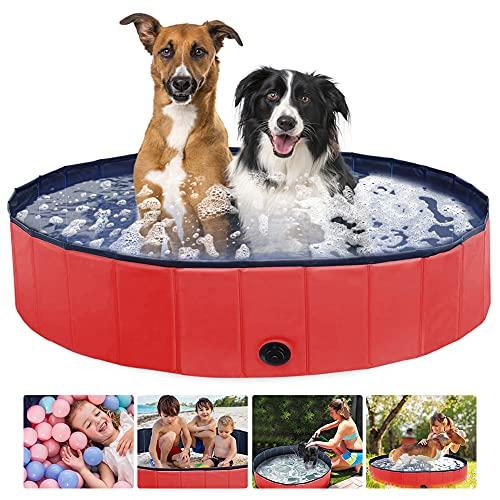 Aceshop Piscina Plegable para Perros Bañera Plegable de Mascotas Baño Portátil para Animales Piscina para Perros y Gatos Adecuado PVC Bañera para Perros para Interior Exterior al Aire, 160 × 3