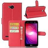 pinlu® PU Leder Hülle Schutzhülle Für LG X Power2 Prämie Geschäfts Art Haut Textur Flip Etui Brieftasche Mit Stand Function Innenschlitzen Design Cover Rot