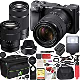 Sony a6400 4K Mirrorless Camera ILCE-6400M/B with 18-135mm F3.5-5.6 and 55-210mm F4.5-6.3 2 Lens Kit and Deco Gear Travel Case Filter Set Extra Battery Remote & Flash Bundle