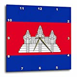 3dRose DPP_158273_2 Flag of Cambodia Cambodian Red Blue with White Angkor Wat Hindu Buddhist Temple Black Outline Wall Clock, 13 by 13-Inch