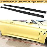 QCCQ Los faldones Laterales del automóvil Son adecuados para BMW F80 M3 F82 M4 Sedán Coupé Negro Fibra de Carbono CF Faldón Lateral del carrocería 2015 2016 2017
