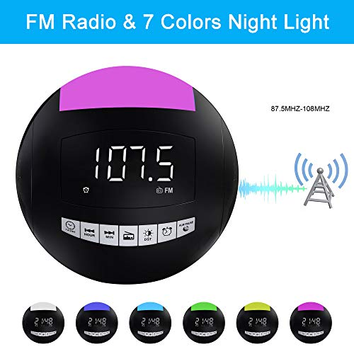 Home Digital Alarm Clock FM Radio,7 Colors LED Night Light,Dual USB Chargers,12/24H,DST,White Digits with Dimmer, Snooze,Plug in Battery Operated,Design for Adults Kids Heavy Sleeper Elderly Bedroom