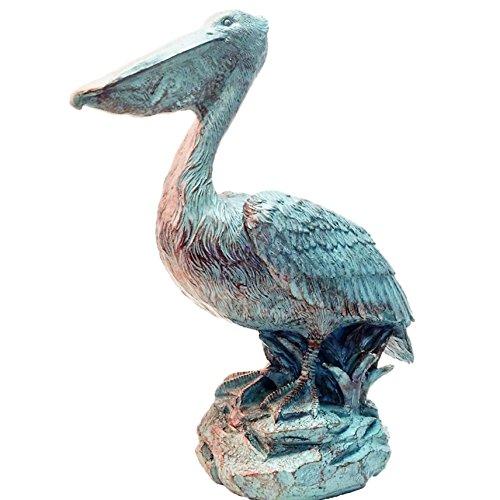 Homestyles 20 in. Pelican on Ocean Coastal Rock Collectible Beach Statue-Bronze Patina Finish