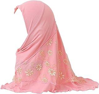 Girls Ice Silk Muslim Khimar Hijab Headscarf Flower Arab Scarf Shawls Neck Wrap Islamic Head Wrap for Age 2-7 Years Girls