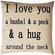 CIMERAC 18 X 18 Cotton Linen Decorative Couple Throw Pillow Cover Cushion Case Couple Pillow Case - I Love You