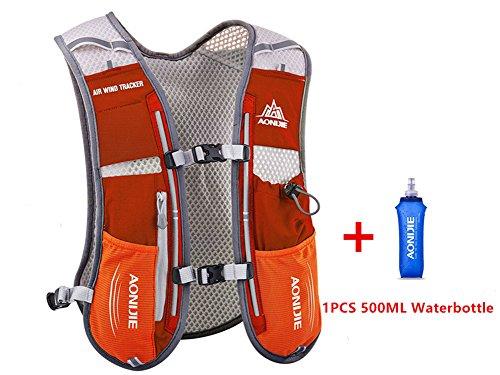 Aonijie 5L Ensemble veste-sac à dos multifonctions pour sports d'extérieur : cyclisme, course, escalade, randonnée, avec bouteille d'eau de 0,5 L, Orange