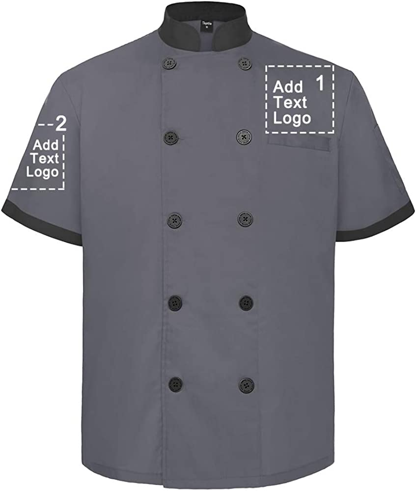 TOPTIE Custom Max 51% OFF Short Sleeve Chef Coat OFFicial mail order Jacket Logo Printed Button