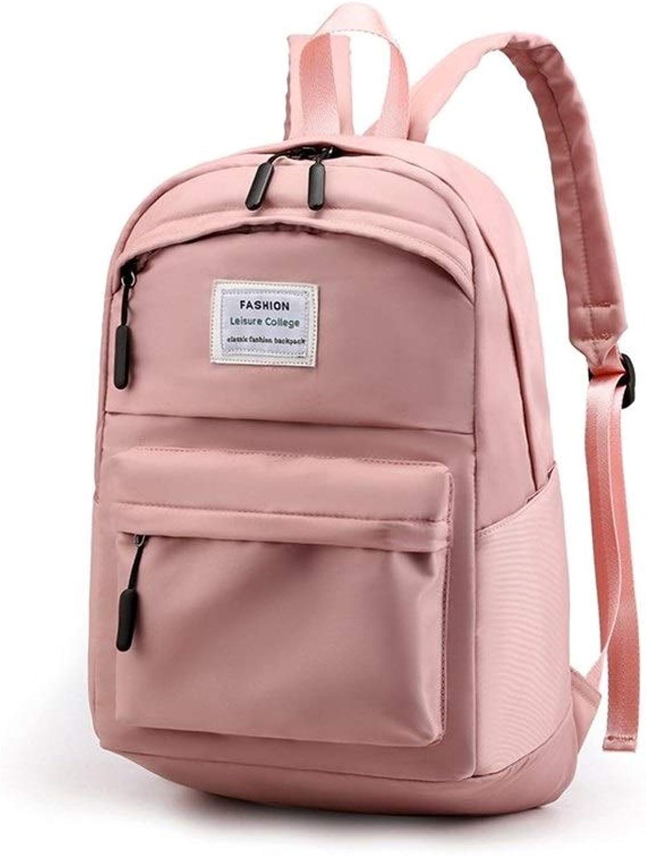 HUIJUNWENTI LargeCapacity Student Bag, Casual Waterproof Nylon Backpack, 30  17  45cm, Black, Pink,Durable