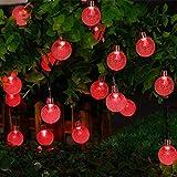 Joomer Globe Solar String Lights, 20ft 30 LED Outdoor Bulb String Lights,Waterproof 8 Modes Solar Patio Lights for Patio, Garden, Gazebo, Yard, Outdoors (Red)