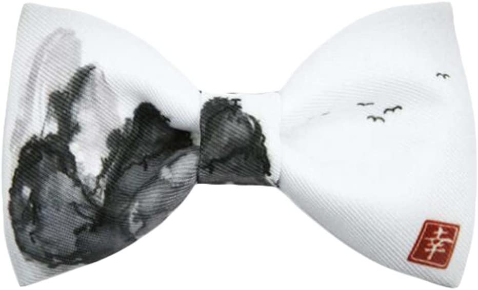Wukong Direct Men Bow Tie Polyester Neckties Chinese Style Landscape Paintings Vintage Bow Tie