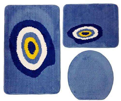 Ilkadim Badgarnitur 3-teilig blau weiß, Motiv Nazar schützendes Auge, Badteppich mit WC-Vorleger für Hänge-WC, 80 x 50cm (große Matte), 50x40cm (kleine Matte)