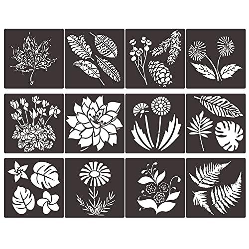 12 Stück Blumen Blätter Schablone Frühling Sommer Schablone Vorlage Blumen Blatt Zeichenvorlage Wiederverwendbare Mylar-Schablonen zum Malen auf Holz Wand Home Decor