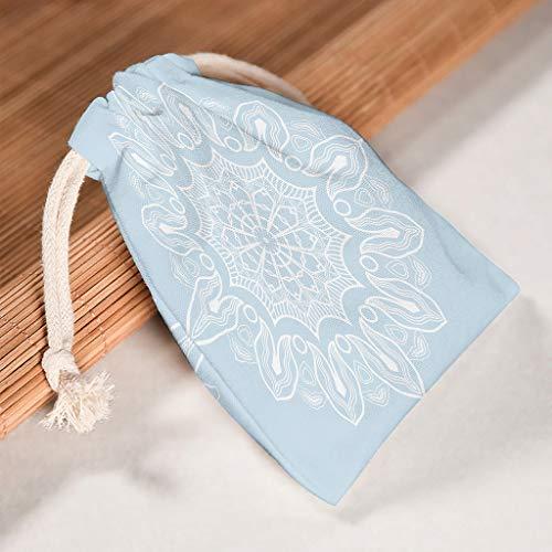 O2ECH-8 12 stuks verpakking voor 12 lichte cyaan-mandala opbergkoordsluiting bruiloft stof - proof snoepzak zakken Fit Thanksgiving jubileum geschenken wrap tassen - thema gedrukt 12 * 18cm wit