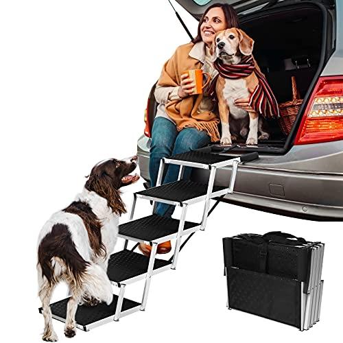 Escalera para perros de 5 niveles, plegable, para perros grandes y pequeños, de aluminio, hasta 85 kg, ideal para coches, camiones, todoterrenos