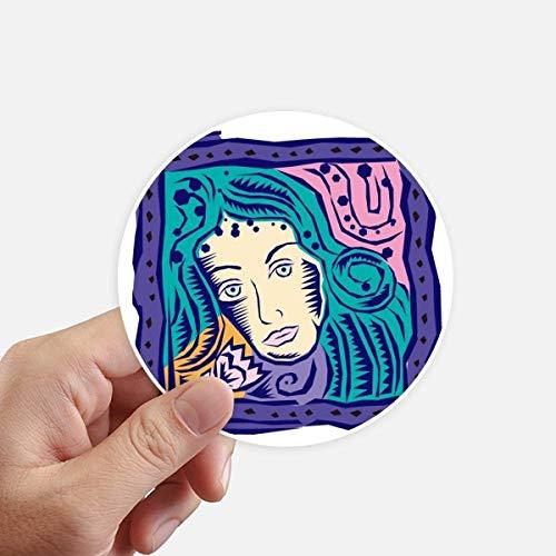 DIYthinker Constellation Vierge Mexicon Culture Gravure adhésifs Ronds de 10 cm Mur Valise pour Ordinateur Portable Motobike Decal 8Pcs diamètre 10Cm Multicolor