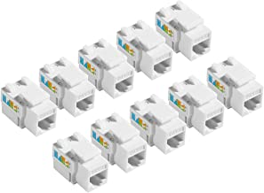 TENINYU 10-Pack RJ45 Keystone Jack Module Connector 568A/568B, Keystone Adapter Compatible Cat 6/5e/5 Connector,Cat6 Keystone Jack,RJ45 Female Connector,White