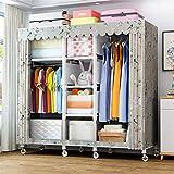 Closet Storage Closet Clothes Portable 2 secciones colgantes Armario portátil Closet Ropa Organizador de tela no tejida cubierta con 5 estantes de almacenamiento Wardrobe Closet Organizer Shelf Wardro