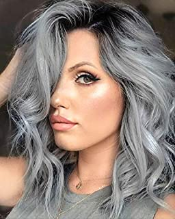 GG Short Ombre Gray Grey Lace Front Wig Water Wave Black Root Silver Grey Wigs for Women Short Wavy Gray Wig Bob Synthetic Lace Front Wig (12 Inch Ombre Gray)