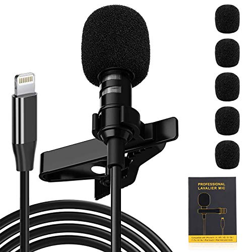 Ryqtop,Professional Lavalier Microphone for iPhone,iPhone Microphone,Noise Reduction Mic,for Interview, Video, Recording,Black,79''