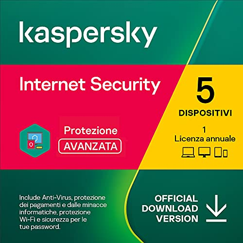 Kaspersky Internet Security 2021   5 Dispositivi   1 Anno   PC / Mac / Android   Codice d'attivazione via email