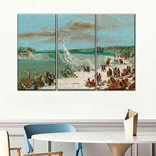 Impresiones En Lienzo 3 Piezas Cuadro Moderno En Lienzo Decoración para El Arte De La Pared del Hogar Portage alrededor de las cataratas de Niágara. 108×56 Cm HD Impreso Mural (Enmarcado)