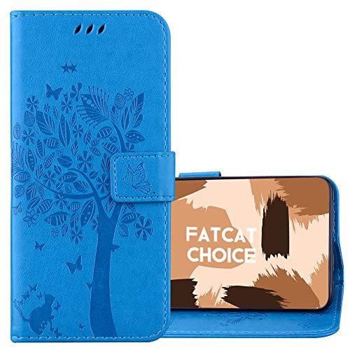 FatcatChoice Custodia per LG K5,Flip Case Portafoglio in Pelle Wallet Case PU e TPU con Funzione Supporto Chiusura Magnetica Supporto Cover Cassa Protettiva (Blu)