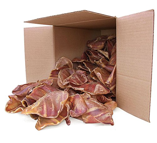 GigaBite Whole Pig Ears for Dogs - All Natural Pork Ear Dog Treat by Best Pet Supplies - Pack of 100