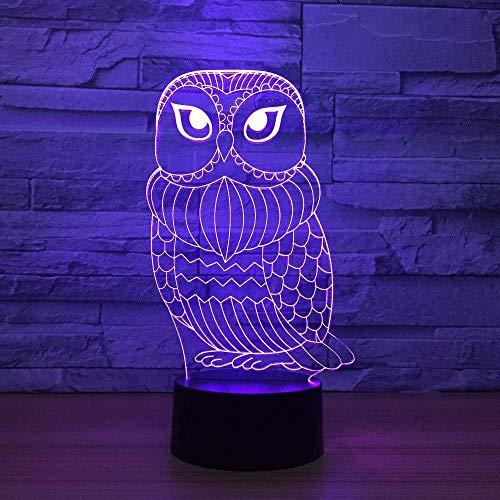 Lámpara de mesa de búho LED 3D creativa 7 cambio de color ambiente degradado luz de noche USB iluminación de habitación de niños decoración del hogar para niños