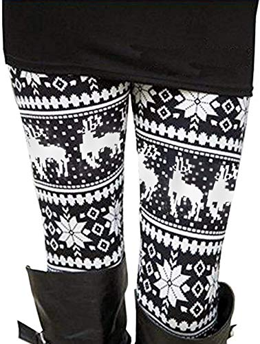 Uaderize Black and White Christmas Reindeer Leggings for Teen Girls Plus Size XL