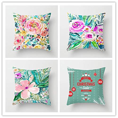 Jooui 4 Pack Fundas de Cojín Algodón Lino Flor Abstracta Cushion Covers 4 Piezas Sofa Cojín Decorativo Throw Pillow Case Sala de Estar Cama Coche Funda de Almohada,with Insert(50x50cm/20x20 Inch)