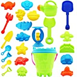 Fun Gift 24 Piece Beach Toys Sand Toys Set, Sandbox Toys Set, Bucket, Shovels, Rakes,Watering Can, Animal and Castle Sand Models & Molds,Toys for Boy Girl Kids Children,