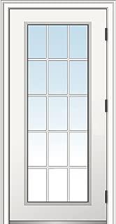 National Door Company ZZ364606L Steel, Primed, Left Hand Outswing, Prehung Door, 15 Lite, Clear Glass, External Grilles, 32