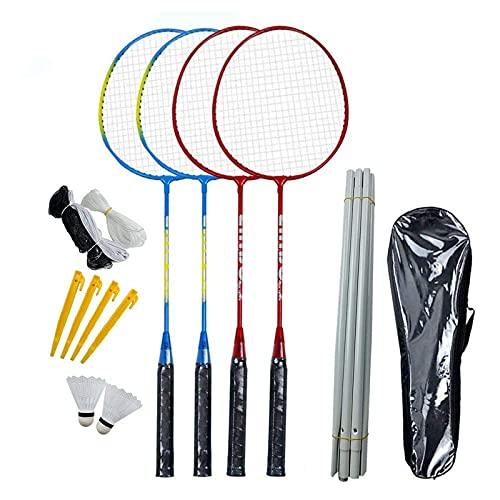 Pocxv Juegos de bádminton y Expertos en Deportes portátiles.Incluye Tenis de bádminton, 4 Raquetas de bádminton y 2 bádminton