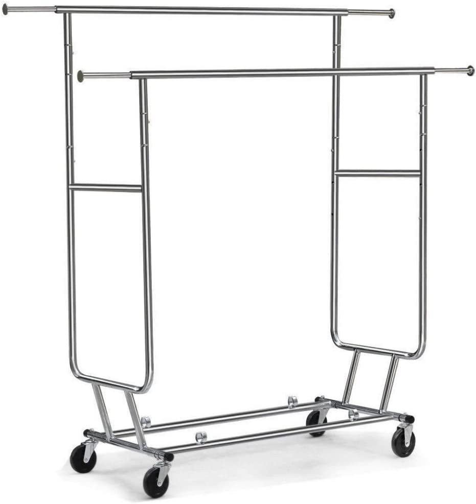 New Albuquerque Mall Heavy Duty Commercial Garment Double Rack Limited price Rail Rolling Cloth