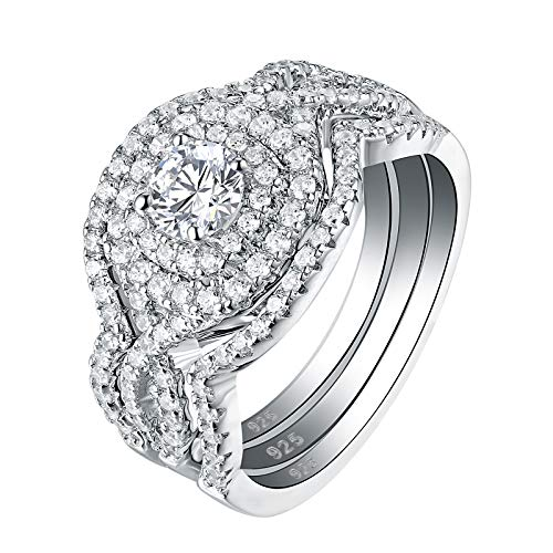 Newshe Wedding Rings for Women Engagement Ring Set 925 Sterling Silver 3pcs 2Ct White Cz Size 9