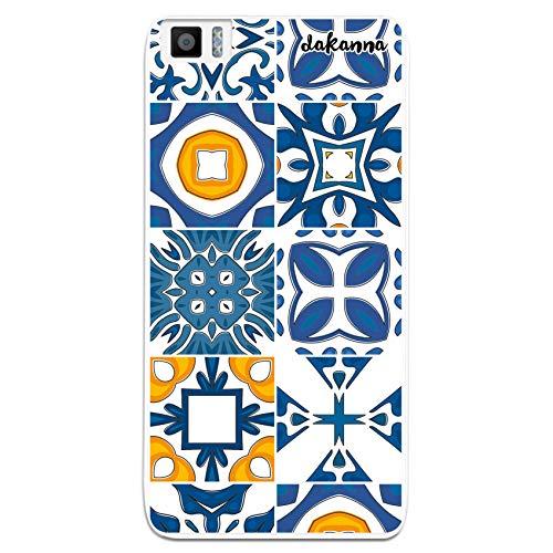 dakanna Funda Compatible con [ Bq Aquaris M5.5 - M 2017 ] de Silicona Flexible, Dibujo Diseño [ Azulejos clásicos ], Color [Borde Transparente] Carcasa Case Cover de Gel TPU para Smartphone